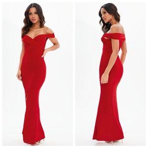 Missguided Slinky Bardot Maxi Dress/Gown
